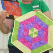 "Beverly shares her ""Quilting Designs"" used on her pretty geometric table mat."
