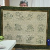 Kay Beach's embroidered quilt that received a blue ribbon in Knox County Quilt Show!