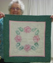 Beautiful table runner and a beautiful lady, Meredith Willcox!