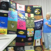 Huge t-shirt memory quilt made by Carol Snider in tribute to a friend.