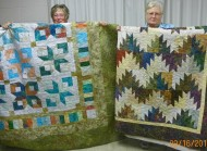 "Tied for Third Place: (L-R) Di Zook, ""Boxy Stars"" and Marsha Yahl, ""Scrappy Mountains""."
