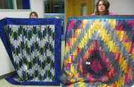 "Two of four versions of ""Scrappy Mountains"": (L-R) Barb Bevell and Andrea O'Brien."