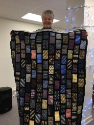 Elsie Gaber's quilt made from Ron's ties.