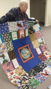 Kathy and Stan work on these veterans quilts together.