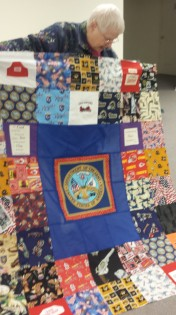 Kathy East made 4 personalized veteran quilts this month!