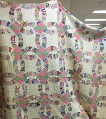 """Maria also shared this pretty """"Double Wedding Ring"""" quilt."""