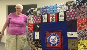 Kathy East and her striking Veteran's quilt.